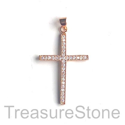 Pave Pendant, brass, rose gold, 15x22mm cross, CZ. ea