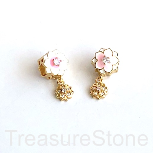 Pave Bead, brass, 11mm pink, white enamel rose, large hole:. Ea