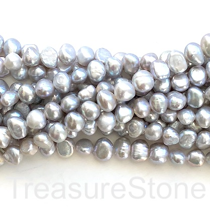 "Pearl, freshwater, grey, 6-7mm nugget. 14.5"", about 55pcs"