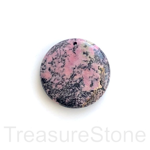Pendant, Rhodonite, 40mm coin. Sold individually.