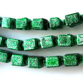Bead, plated, green, 6x7mm. Pkg of 24.