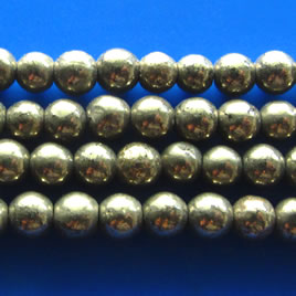 Bead, pyrite, about 3mm round. 16 inch strand.