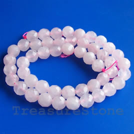 Bead, rose quartz, 6mm faceted round. 15-inch, 62pcs