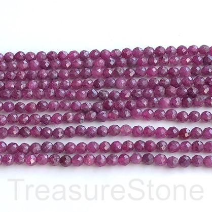 Bead, ruby, 3mm faceted round, grade B-, 15""