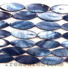 bead, shell, dark blue (dyed), 11x28mm oval. 16-inch strand.