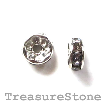 Spacer bead, silver plated brass, grey, 6mm round. Pkg of 5.