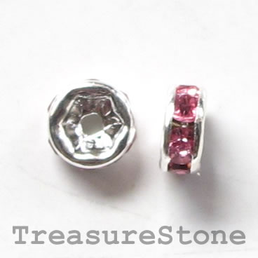 Spacer bead, silver plated brass, pink, 6mm round. Pkg of 5.