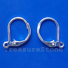 Earwire, stainless steel, leverback with open loop. 3 pairs