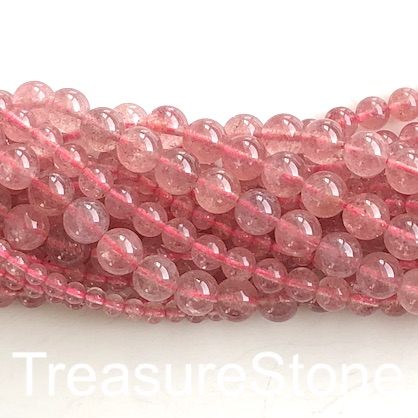 Bead, Strawberry Quartz, 4mm round, grade A-. 15.5-inch, 98pcs