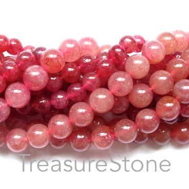 Bead, Strawberry Quartz, 10mm round. 15.5-inch, 38pcs