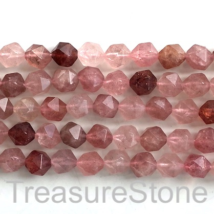 Bead, Strawberry Quartz, 9x10mm, faceted, star cut. 15.5inch, 40