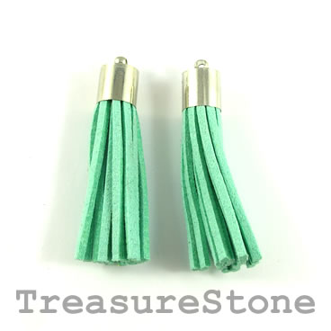 Tassel, faux leather, 10x50mm, turquoise. Pkg of 2pcs.