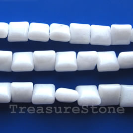 Bead, white stone/white jade, 8mm square pillow. 15.5-inch